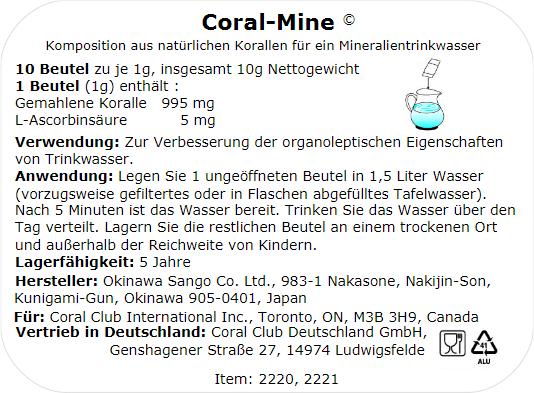 Coral Mine Zusammensetzung / Inhaltsstoffe: Korallenpulver, Vitamin C. Zerriebene Korallen 995 mg, L-Ascorbinsäure 5 mg.